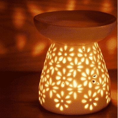 Blüten-Duftlampe weiss für ätherische Öle