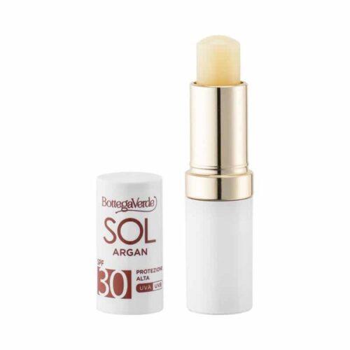 SOL Lippenschutzpflege mit Arganöl LSF30 von Bottega Verde. Nährstoffspendend und wasserfest, mit Arganöl und Vitamin E.