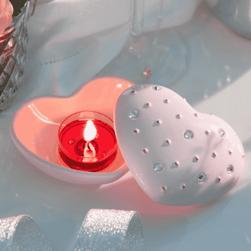 Herz PartyLite-Teelichthalter mit Swarovski-Steinen.