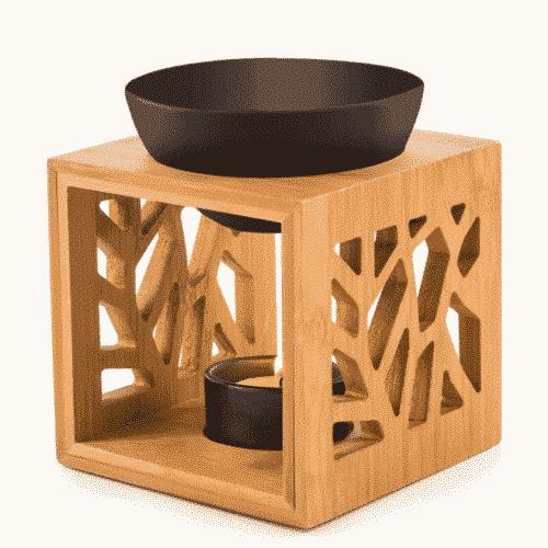 Aroma-Duftlampe Bambus-Keramik-schwarz für ätherische Öle